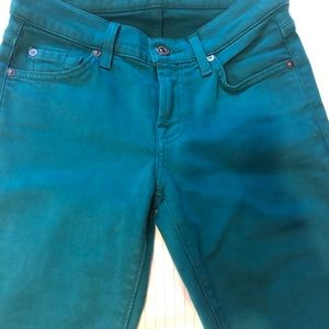 7 For All Mankind emerald green skinny jeans  24